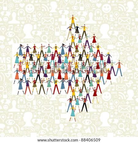 Taked by hands people group in an arrow shape symbol. Social icons set pattern background.