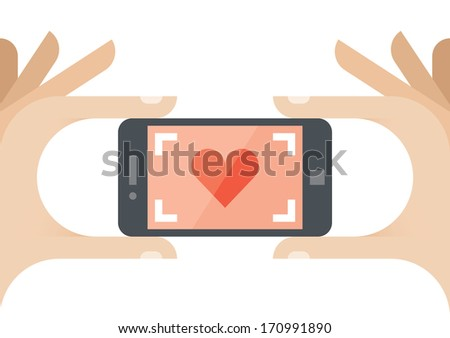 Taking a photo of Love with red heart on the screen of mobile phone - stock vector