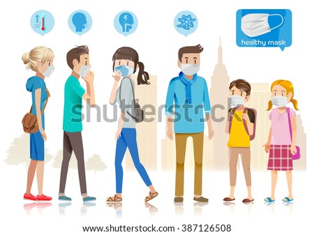 Taking care of yourself in public. Many people catch a cold. City is filled with anthrax. The spread for new diseases. - stock vector