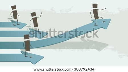 Taking off to success. Several stick figures are above arrows. One is taking off: going to succeed. EPS10 Illustration