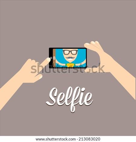 Taking Selfie Photo on Smart Phone concept background. vector illustration - stock vector