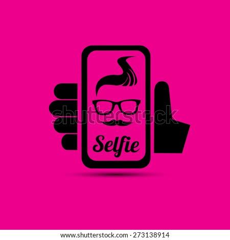 Taking Selfie Photo on Smart Phone concept icon set. vector illustration - stock vector