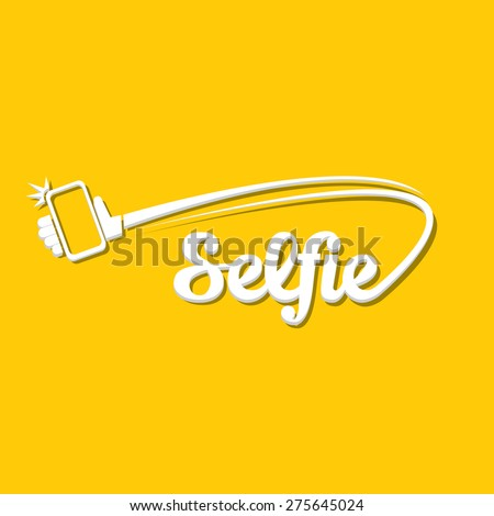Taking Selfie Photo on Smart Phone concept icon . vector illustration - stock vector