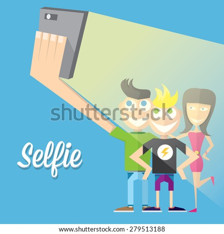 Taking Selfie Photo on Smart Phone concept icon. vector illustration. Young group of friends taking selfie photo together with mobile phone .vector illustration - stock vector