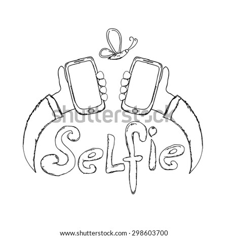 Taking Selfie Photo on Smart Phone concept. vector doodle style illustration