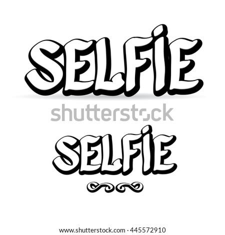 Taking Selfie Photo on Smart Phone creative concept vector illustration.. Summer selfie photo. Selfie cartoon text. Selfie icon isolated on white. selfie label