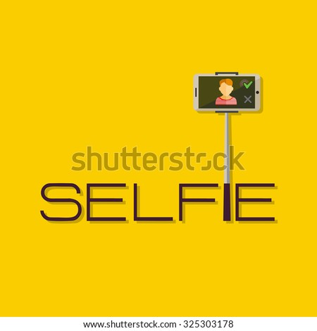 Taking Selfie Photo on Smart Phone or Tablet concept logo or icon.  Hipster Flat design for web sites and infographic design. Vector Illustration.  Touch icon, hand with pressed finger. - stock vector