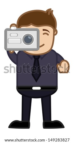 Taking Shot with Digital Camera - Business Cartoons Character