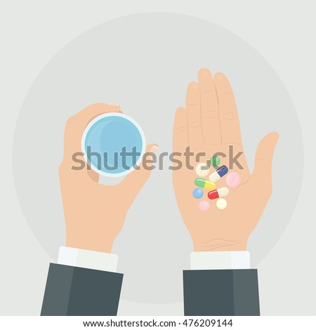 Taking the pills. Hand holding tablets and glass of water. Medical treatment concept. Healthcare. Medicine, drugs, capsules isolated on background. Vector icon. Flat style