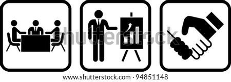 tale of a business meeting - stock vector