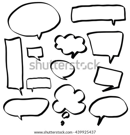 Talk and think bubble collection hand drawn vector illustration.