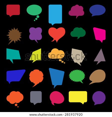 Talk and think comics bubbles silhouettes set for communication.  - stock vector