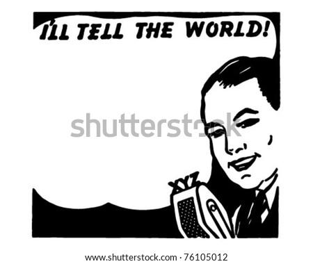 Talk Balloon 1 - Retro Ad Art Illustration - stock vector