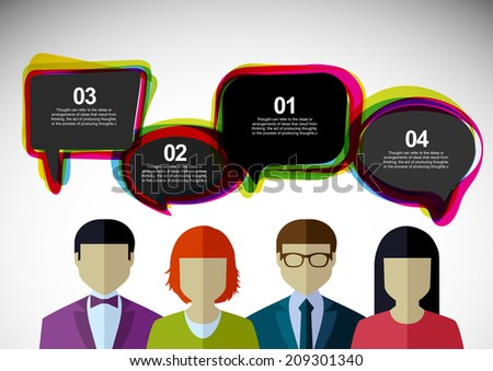 Talk. People with clouds thoughts. Vector illustration. Businessmen, coworkers, think, question. - stock vector