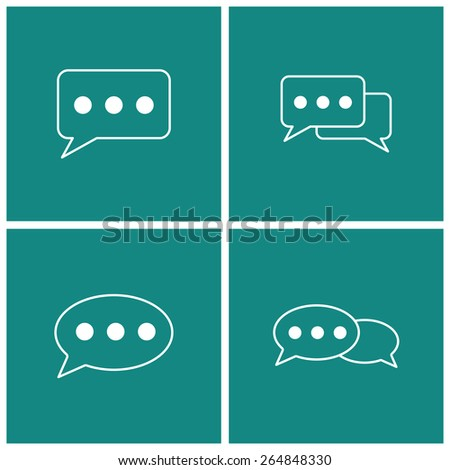 talk thin line icon set - stock vector