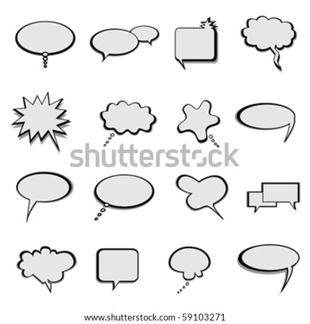 Talk, thought and speech balloons or bubbles - stock vector