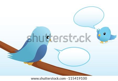 talking blue birds - stock vector