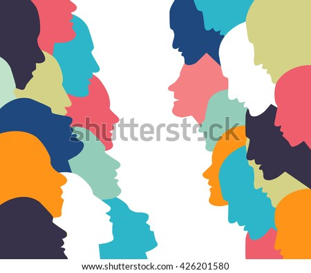 Talking concept. People profile head in discussion. - stock vector