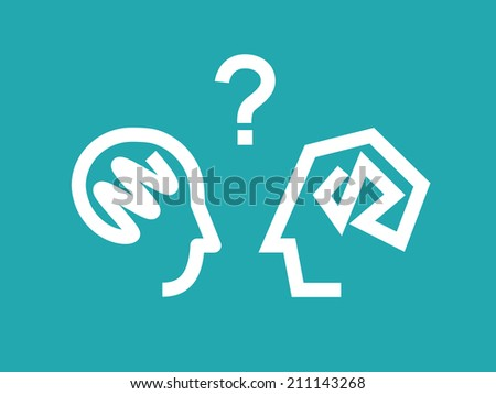 Talking concept. Vector illustration of male and female dialog. - stock vector