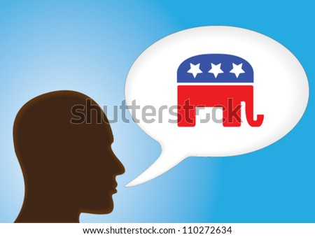 Talking Head - Speech bubble showing the symbol of Republican Political party of United States of America. - stock vector