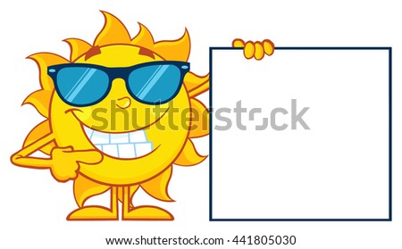 Talking Sun Cartoon Mascot Character With Sunglasses Pointing To A Blank Sign. Vector Illustration Isolated On White Background - stock vector