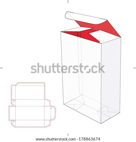 Tall Box with Auto-Lock Bottom and Die-cut Pattern Layout - stock vector