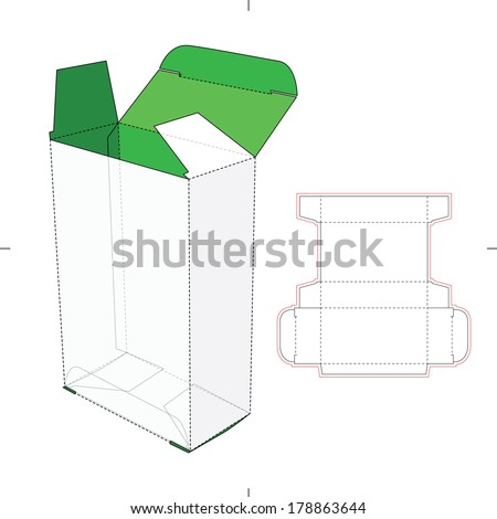 Tall Box with Flip Lock Bottom and Die-cut Pattern Layout - stock vector