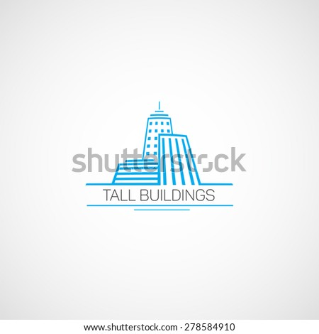 Tall Buildings.Logo in the flat style.