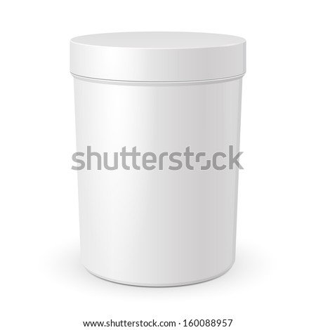 Tall Cosmetic Cream, Gel Or Powder, Light Gray, White, Jar Can Cap Bottle. Blank On White Background Isolated. Ready For Your Design. Product Packing Vector EPS10
