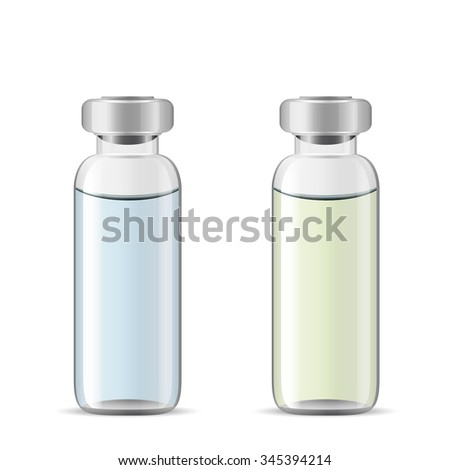 Tall medical vials with medicinal solution, 3d realistic vector of lab glassware, eye drops bottle, eps 10 - stock vector