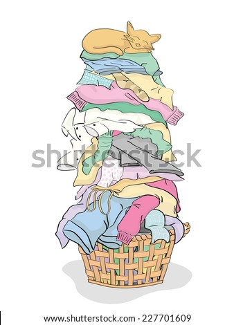 Tall Pile Clean Clothes Laundry Basket Stock Vector ...