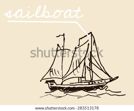 Tall sail ship with sea waves, in hand drawn sketch style, for engraved etching vintage drawing, marine illustration and yacht boat sporting design - stock vector
