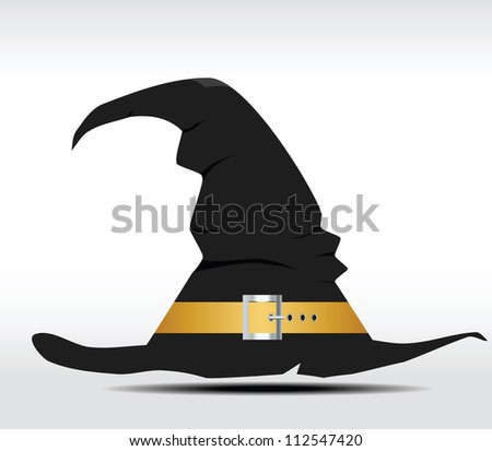 Tall witch hat on abstract background. Vector illustration - stock vector