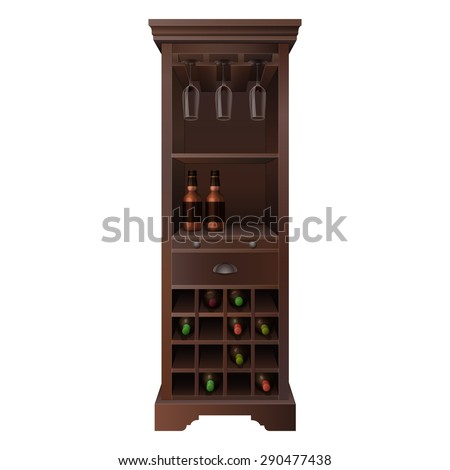 tall wooden wine bar cabinet with bottles and glasses  - stock vector