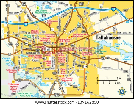 Tallahassee Florida Area Map Stock Vector 2018 139162850