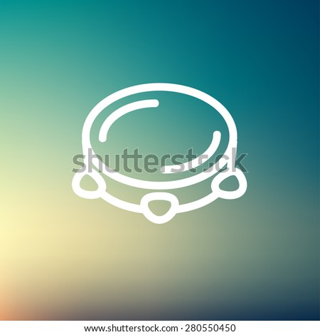 Tambourine icon thin line for web and mobile, modern minimalistic flat design. Vector dark grey icon on light grey background. - stock vector