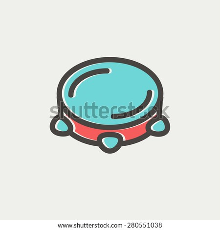 Tambourine icon thin line for web and mobile, modern minimalistic flat design. Vector icon with dark grey outline and offset colour on light grey background. - stock vector