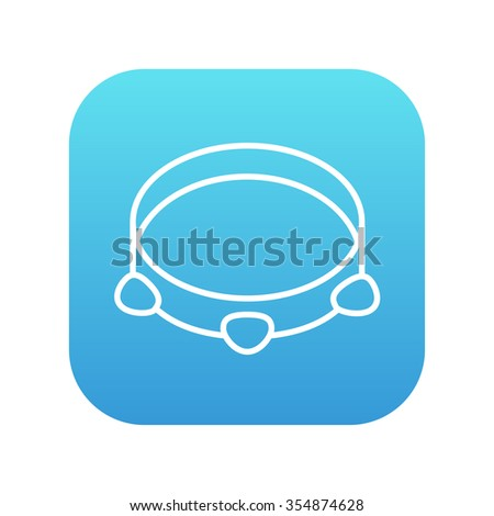 Tambourine line icon for web, mobile and infographics. Vector white icon on the blue gradient square with rounded corners isolated on white background. - stock vector