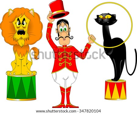 tamer in a red uniform and with a hoop at the circus;  - stock vector