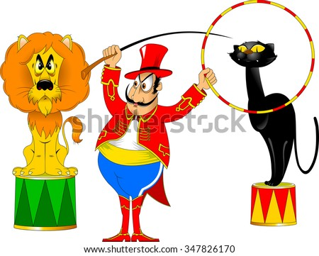 tamer in a red uniform and with a hoop at the circus - stock vector