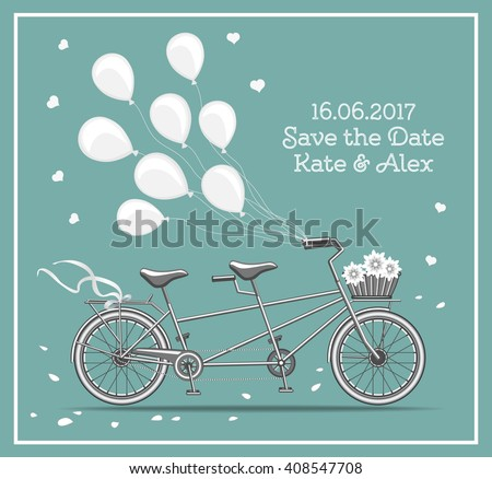 Tandem Bicycle with Balloons Vector Illustration For Wedding Designs. Save the Date Card.  - stock vector