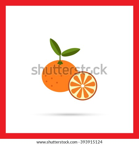 Tangerine and tangerine half - stock vector