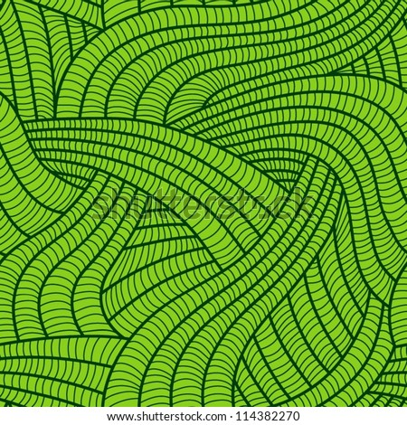 Tangled green seamless pattern. - stock vector