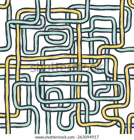Tangled pipes. Seamless Pattern, Hand-drawn