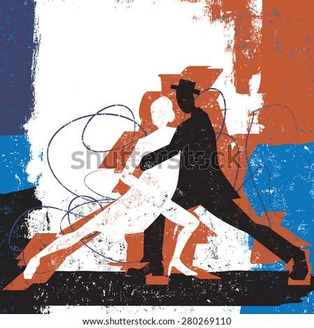 Tango CoupleA couple dancing the tango over an abstract background. - stock vector