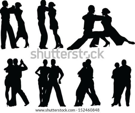 tango couple - vector - stock vector