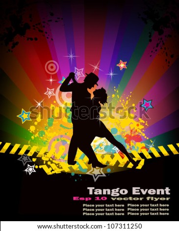 Tango dance flyer for night party or salsa exhibitions. - stock vector