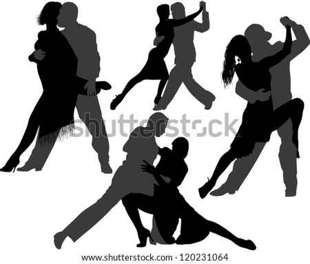 Tango dance vector silhouette on white background. Layered. Fully editable. Can be transformed in completely black silhouettes - stock vector