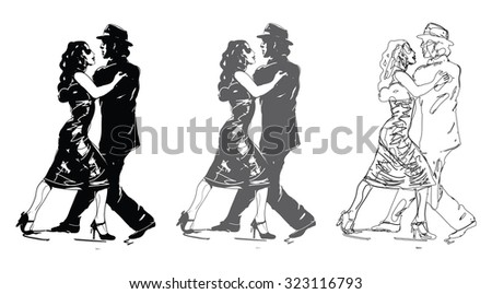 Tango Dancers In Black and White