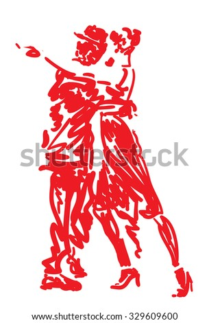 Tango Dancers in red - stock vector